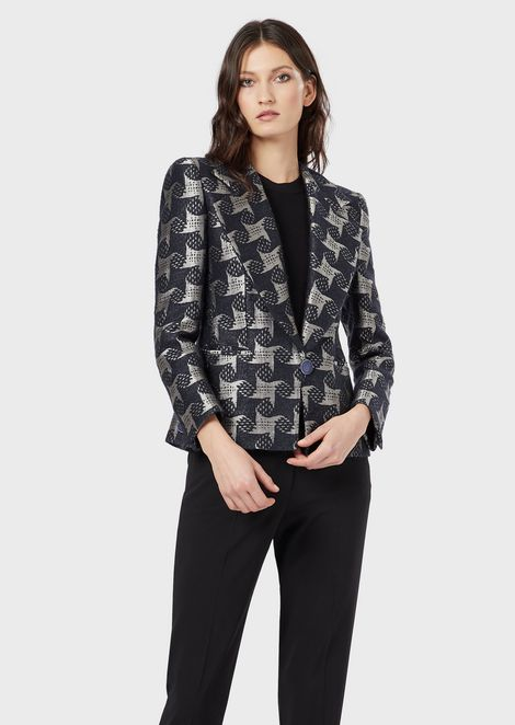 Single-breasted jacket in a houndstooth jacquard