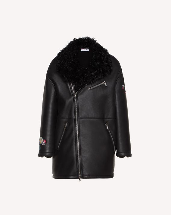 REDValentino Chinese Lacquer embroidered shearling