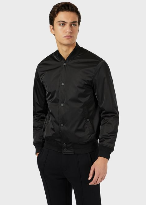 Padded bomber in nylon satin with embroidered logo