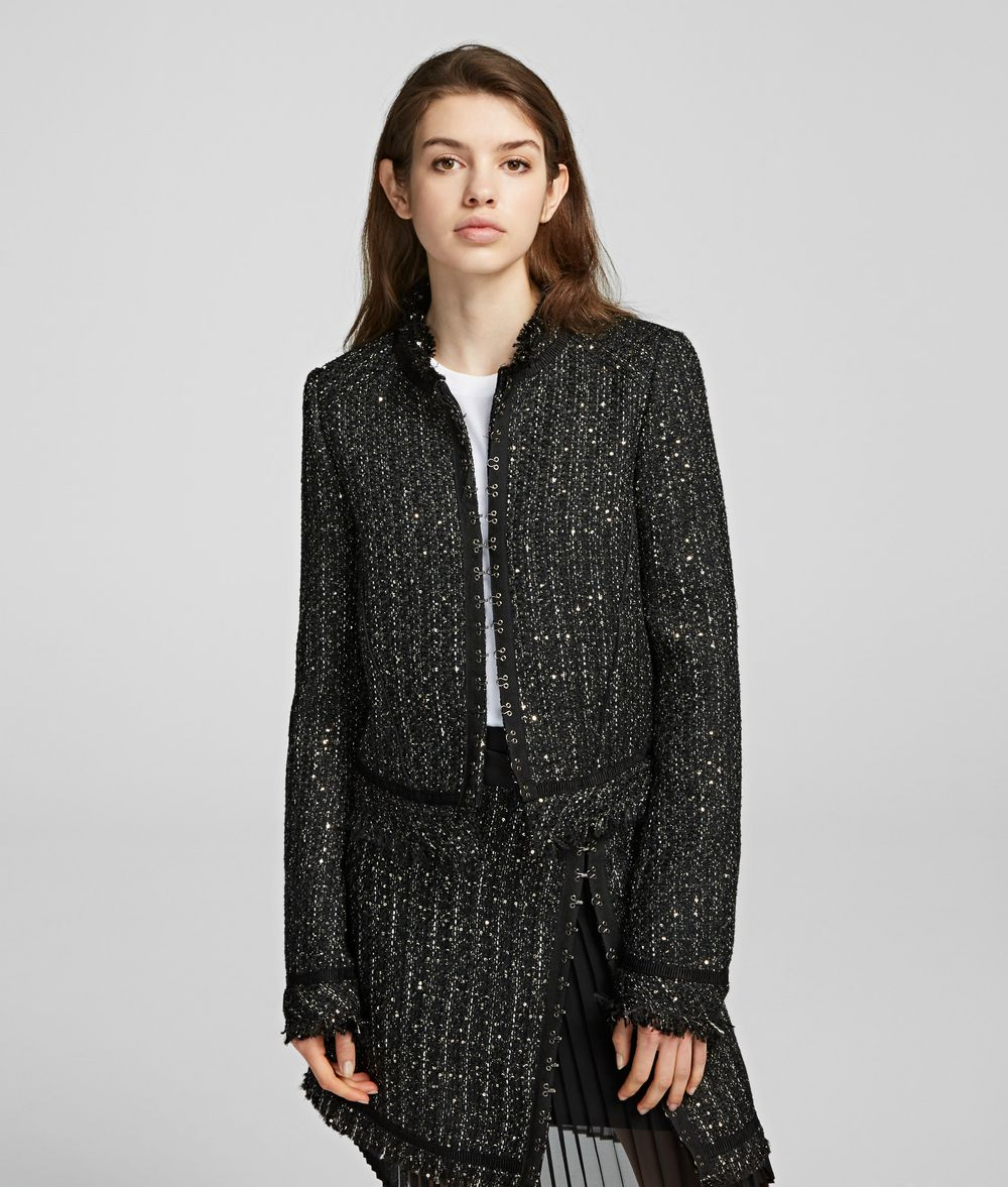 KARL LAGERFELD Sparkle Bouclé Jacket Jacket Woman f