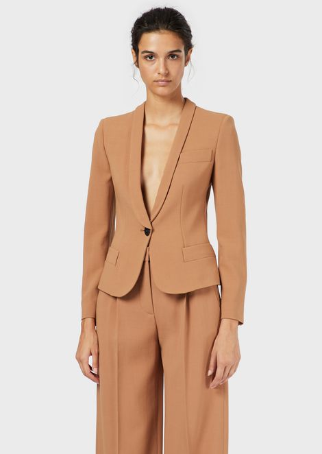 Single-breasted crepe jacket