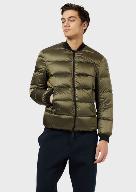 Quilted down jacket with lettering