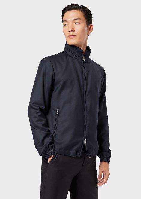 Water repellent cashmere blouson with full-length zip
