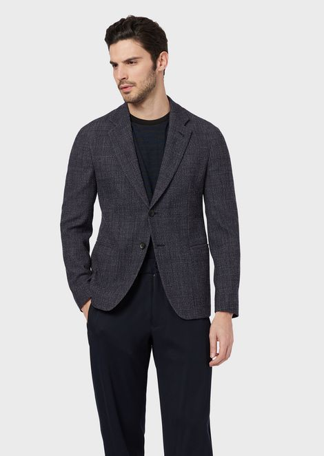 Regular-fit single-breasted jacket in 3D fabric with a denim effect