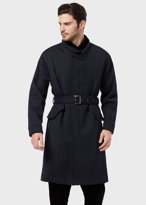 A trench in stretch wool cavalry with a belt