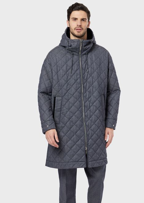 Maxi caban coat in raw quilted denim with a GA logo