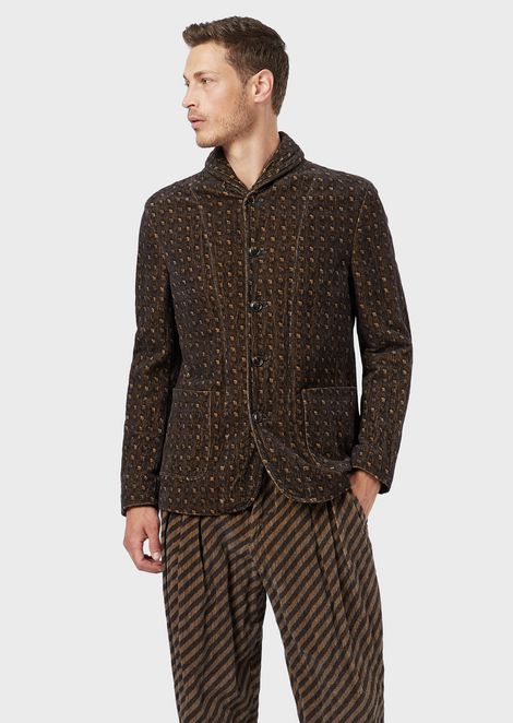 Slim-fit single-breasted jacket in printed velvet
