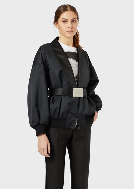 Lapelled radzimir blouson with leather belt