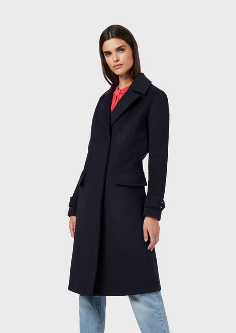 Virgin wool blend coat with sleeveless inner jacket