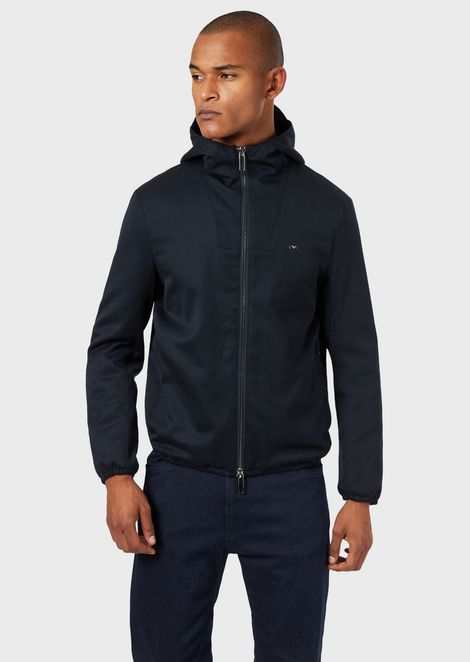 Blouson with hood in virgin wool blend twill