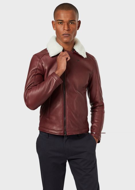 Leather jacket with removable shearling collar