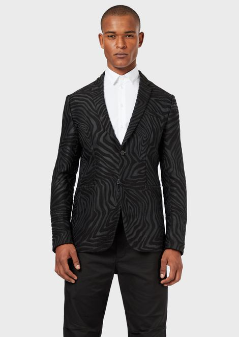 Single-breasted jacket in animalia jacquard wool blend
