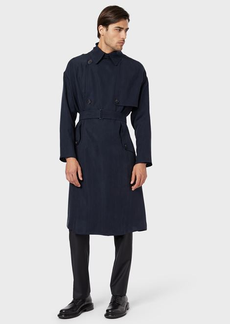 Double-breasted trench coat in washed, basketweave cupro