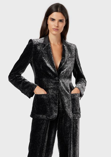 Velvet single-breasted jacket with chevron print