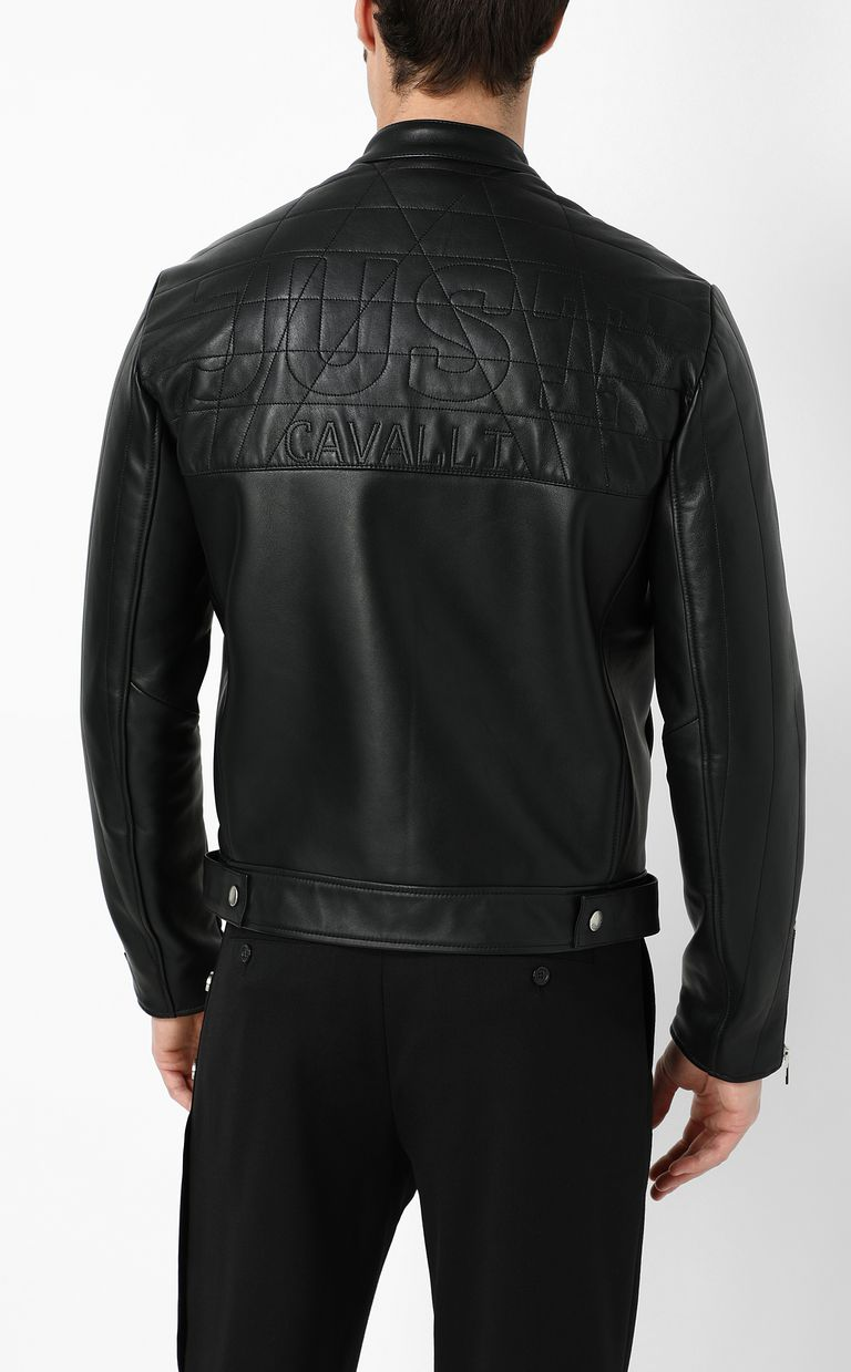 JUST CAVALLI Leather jacket with logo Leather Jacket Man a