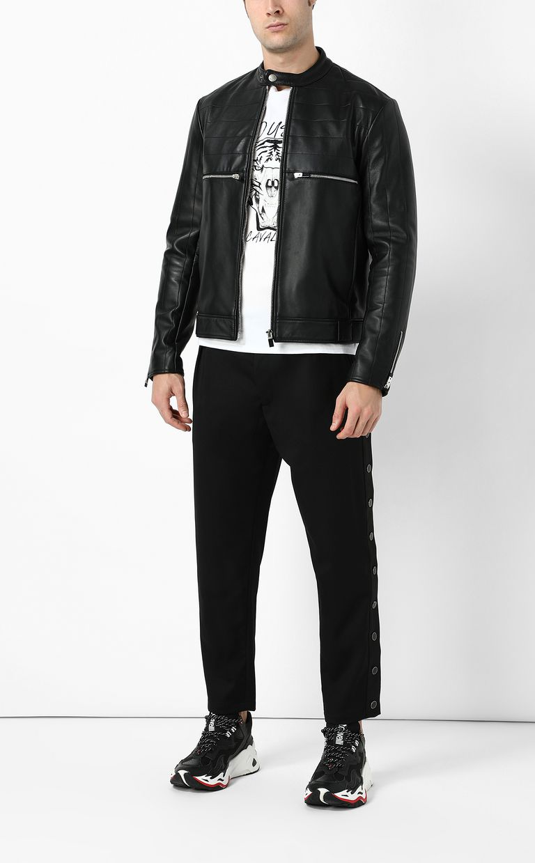 JUST CAVALLI Leather jacket with logo Leather Jacket Man d