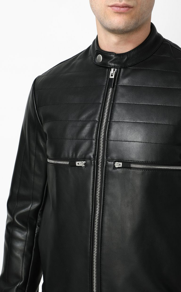 JUST CAVALLI Leather jacket with logo Leather Jacket Man e
