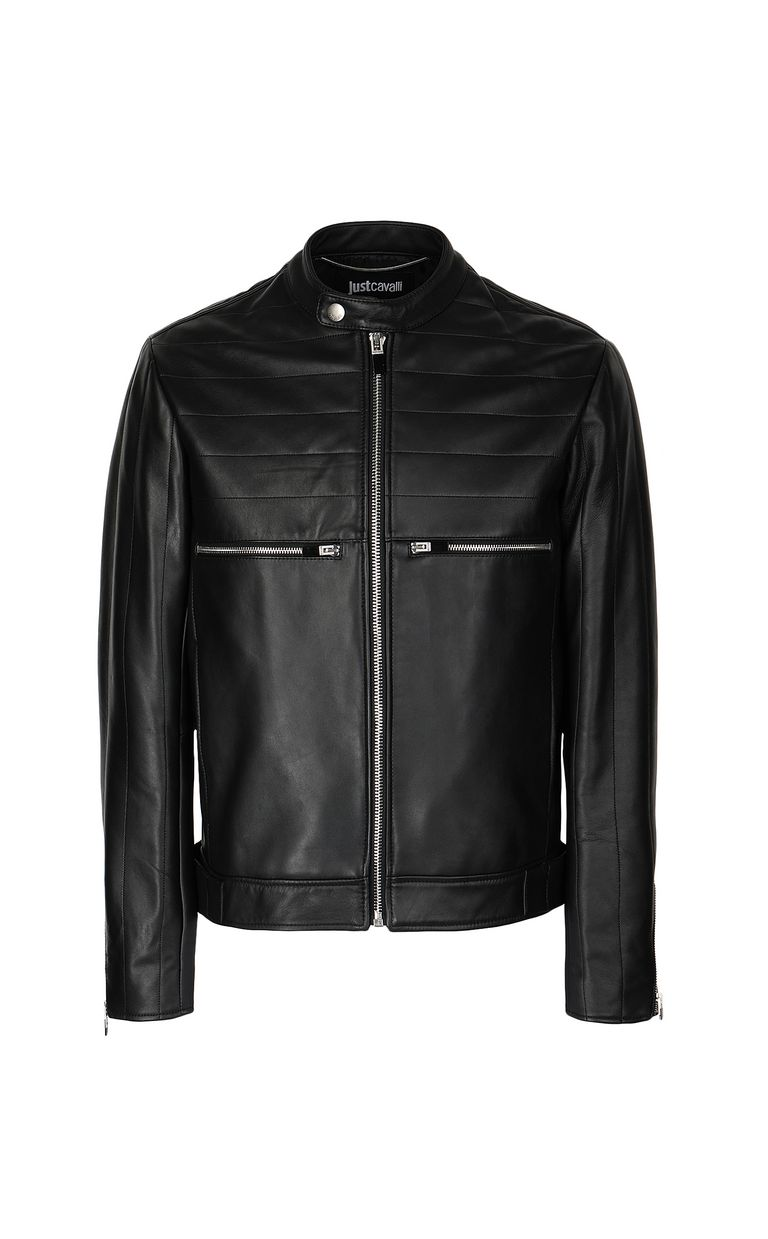 JUST CAVALLI Leather jacket with logo Leather Jacket Man f