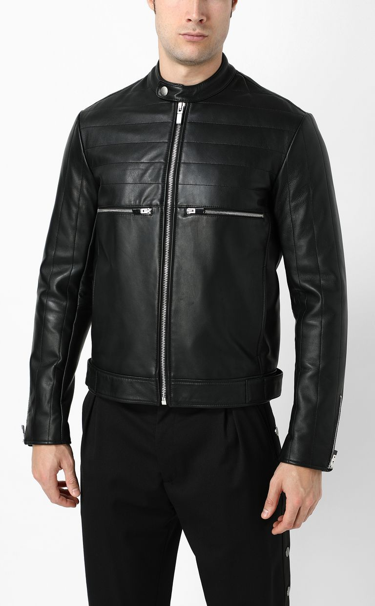 JUST CAVALLI Leather jacket with logo Leather Jacket Man r