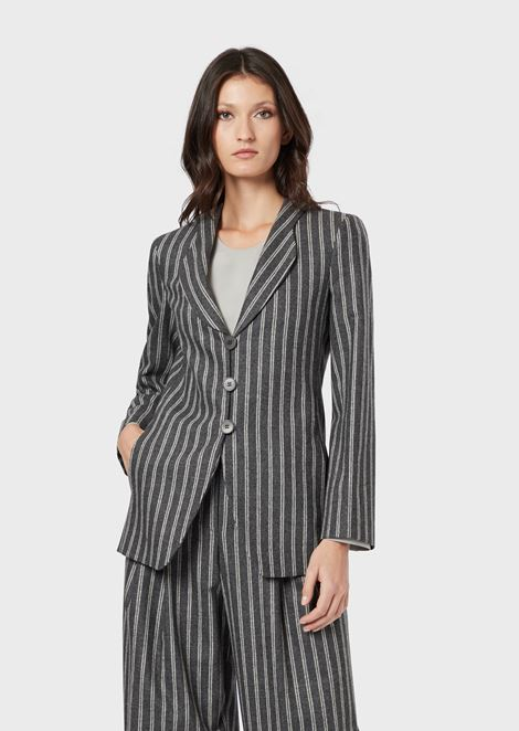 Pinstriped flannel jacket in wool and cashmere