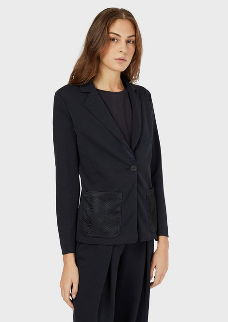 Single-breasted jacket in textured jersey with mesh pockets