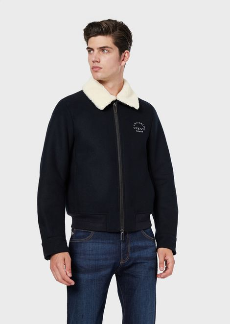 Virgin wool blend blouson with detachable faux shearling