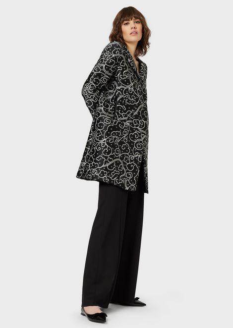 Puffer coat with jacquard Floriental motif