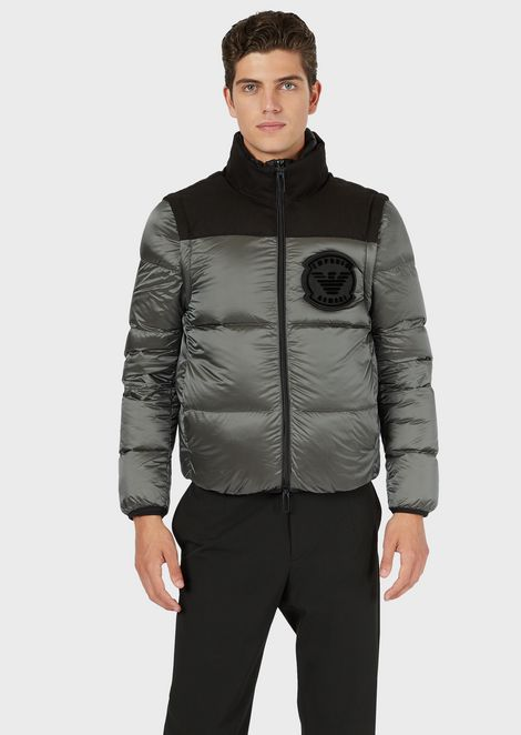 Nylon down jacket with removable sleeves and patch logo
