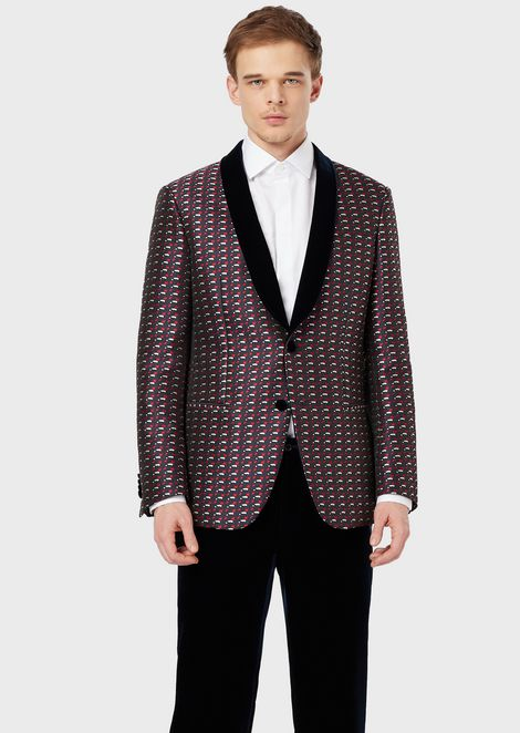 Soho Collection slim-fit, half-canvas jacket in jacquard fabric