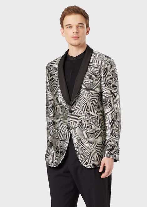 Soho Collection slim-fit, half-canvas jacket in ottoman satin