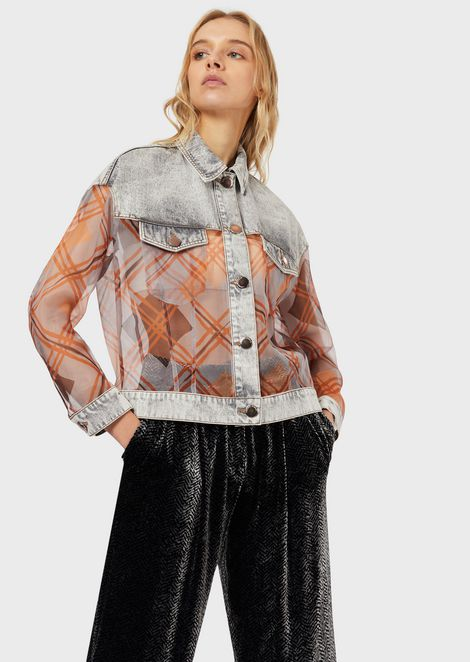 Denim jacket with silk organza inserts