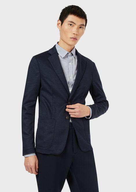 Chevron-motif jacquard jacket