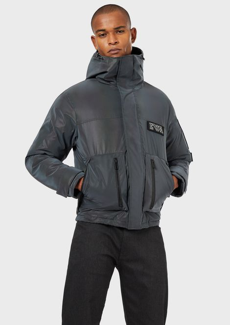 Down jacket in reflective fabric