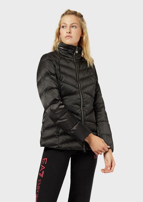 Windproof, shiny fabric down jacket