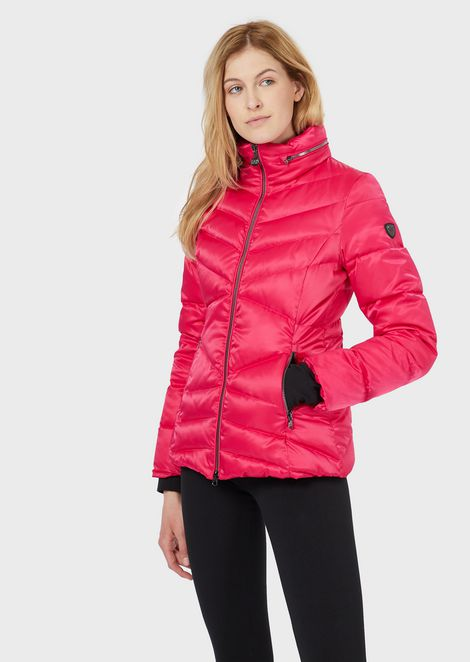 Windproof, shiny fabric down jacket