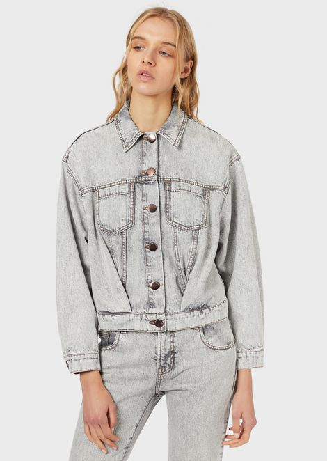 Jacket in marble-effect denim