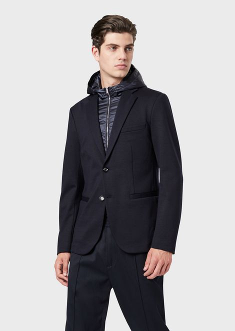Wool blend jacket with padded bib