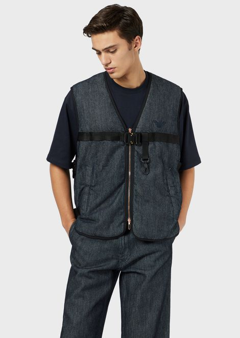 Padded denim gilet with straps