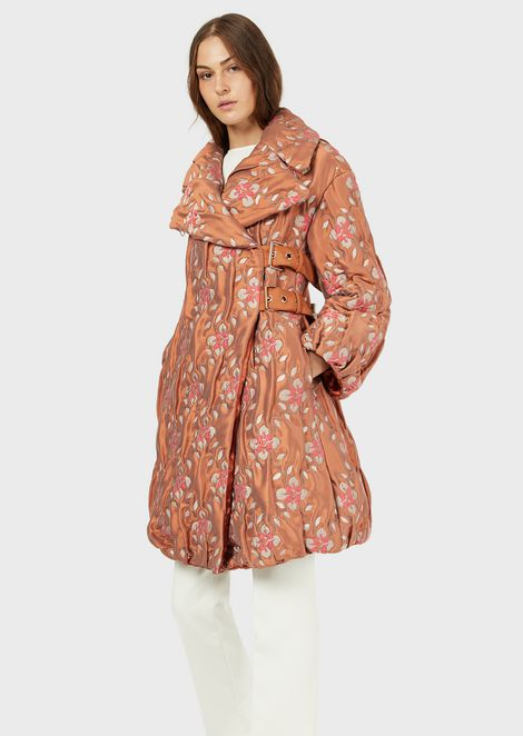 Quilted coat with jacquard floral motif