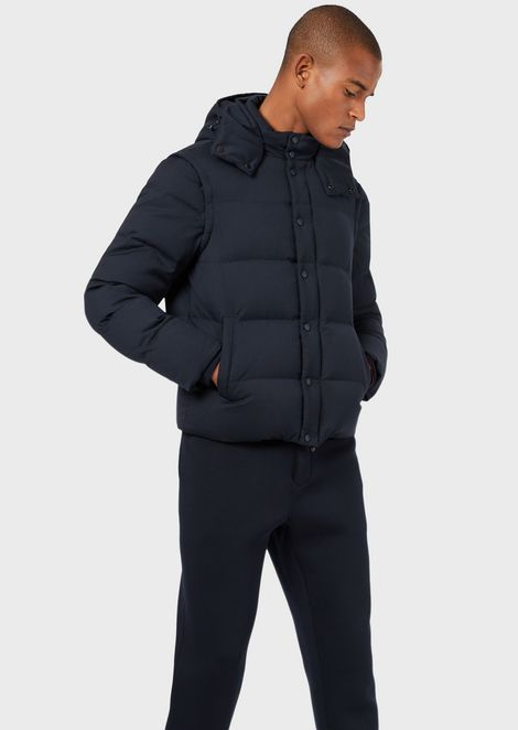 Wool twill down jacket with removable sleeves