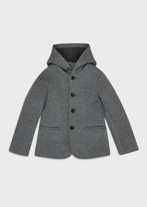 Herringbone jacket with hood