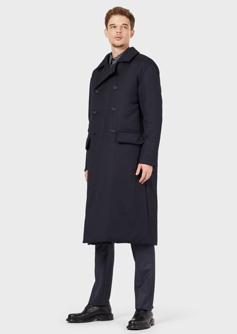 Double-breasted coat in padded, water-repellent wool