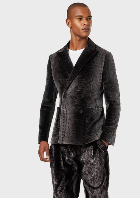 Double-breasted jacket in croc-print velvet