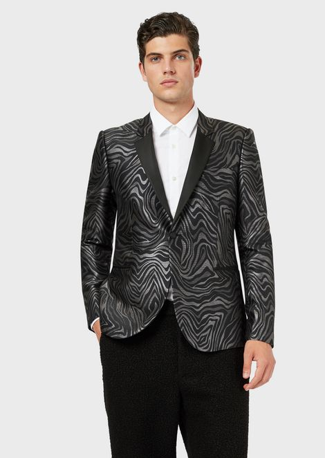 Single-breasted jacket in zebra-print jacquard
