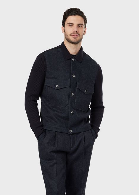 Blouson in selvedge cotton and wool denim