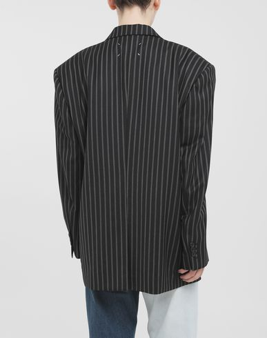 COATS and JACKETS Oversized striped blazer Steel grey