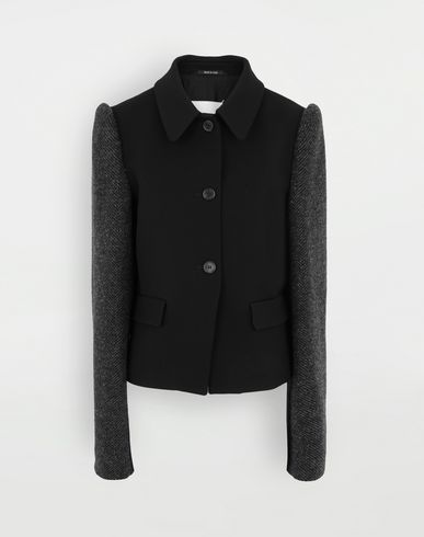 COATS and JACKETS Bi-material jacket Black
