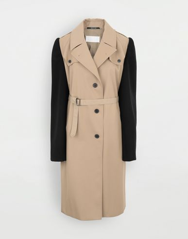 COATS and JACKETS Bi-material trench Beige
