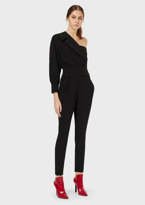 One-shouldered crêpe-cady jumpsuit with lapels