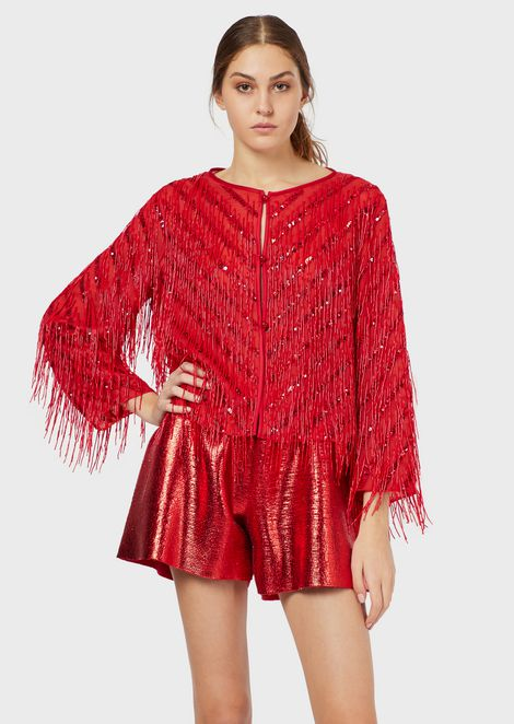 Silk organza jacket with embroidered fringe